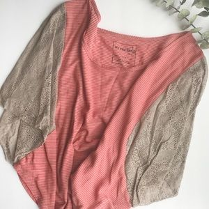 We The Free red and taupe striped top